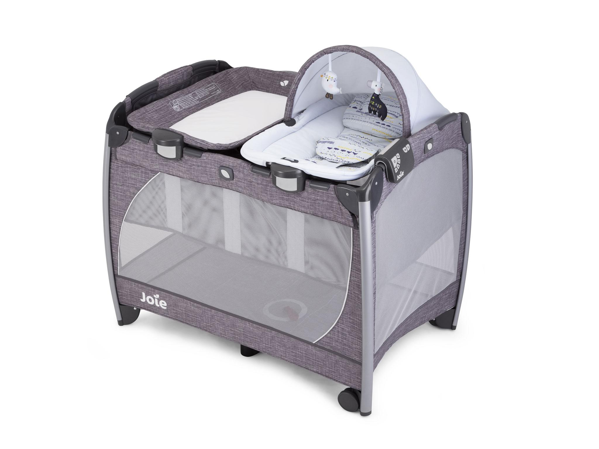 It has wheels to make it easily manoeuvrable and masses of extra features including a rocker, changing unit, light-and-sounds unit and bassinet.