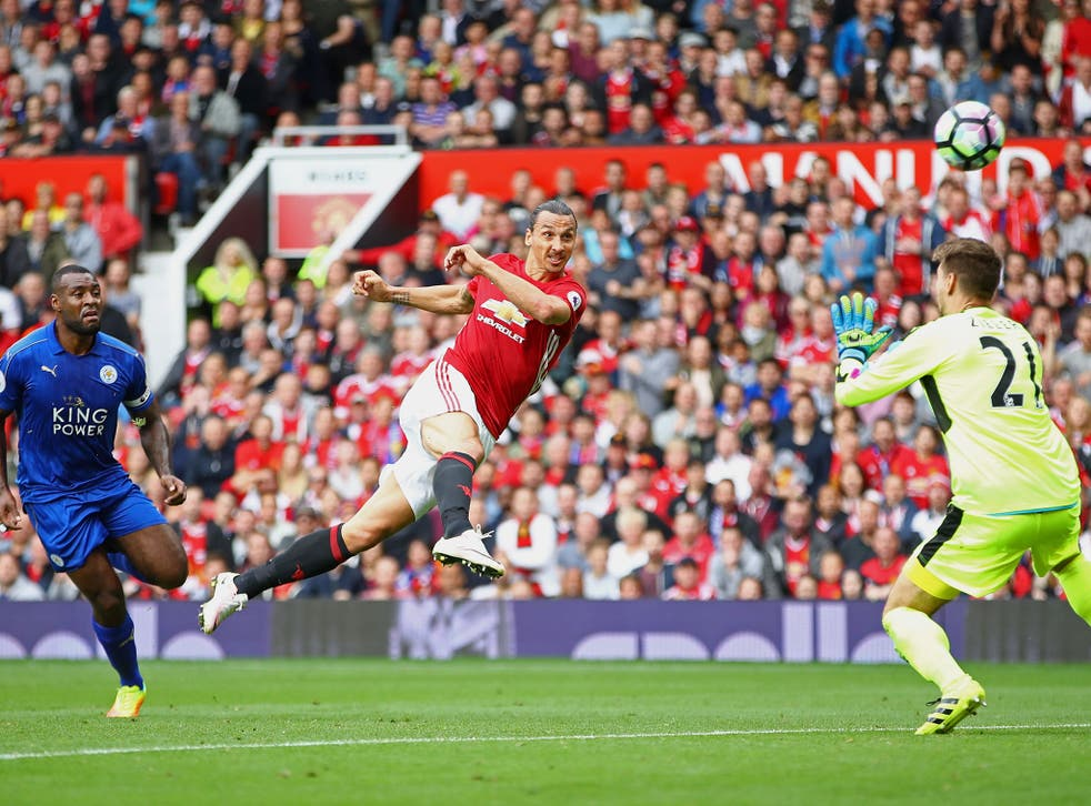 Manchester United's Zlatan Ibrahimovic scores against Leicester