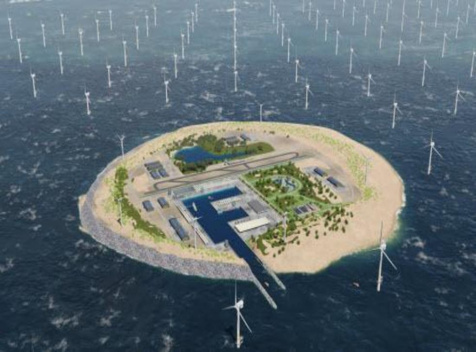 An artist's impression of the artificial island planned for Dogger Bank in the North Sea
