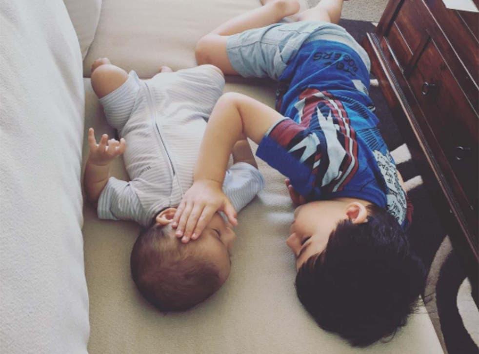 Sheryl found her two sons gently cuddling