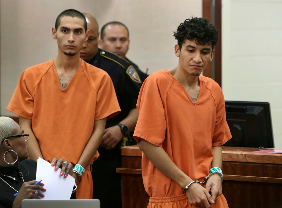 Miguel Alvarez-Flores, right, and Diego Hernandez-Rivera appear in court in Houston.The pair, who had a Satanic shrine in their Houston apartment, have been charged with killing one teenager and kidnapping another