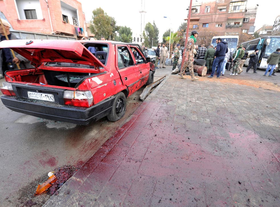 Suicide bombers killed 44 people in Damascus yesterday in an attack targeting Shia worshippers