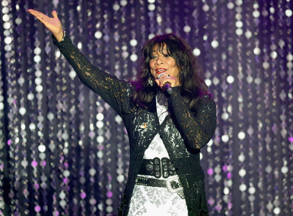 Joni Sledge appears on stage at the 23rd Cinema Against AIDS Gala in Cap d'Antibes, France last year