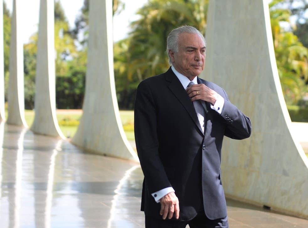 Brazilian President Michel Temer at the Alvorada Palace in Brasilia