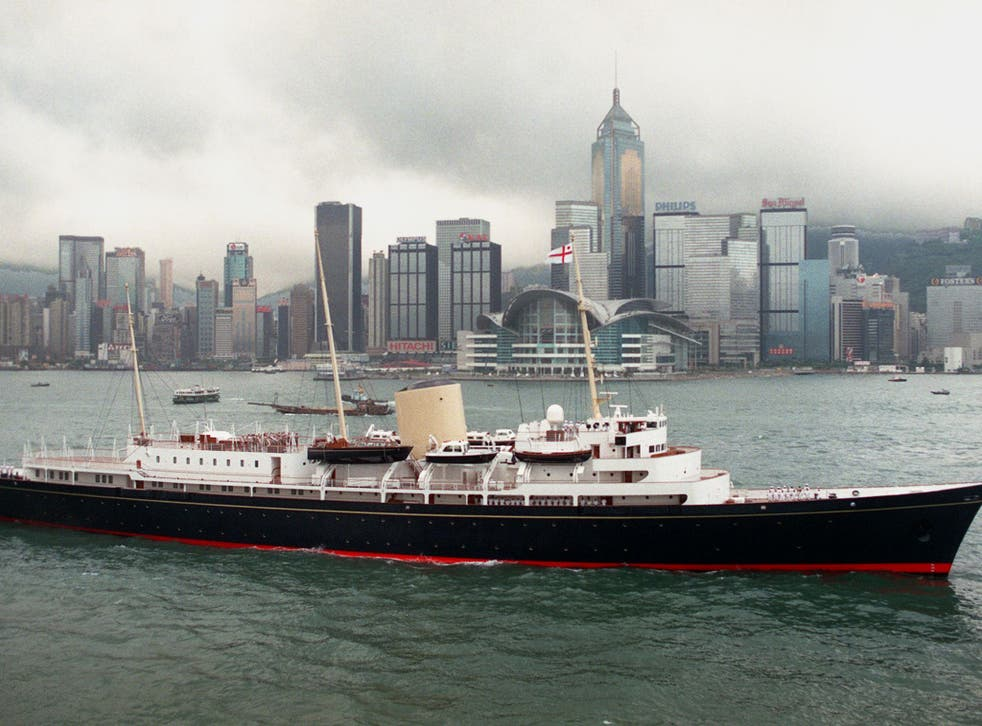 The royal yacht Britannia in Hong Kong before it was decommissioned in 1997