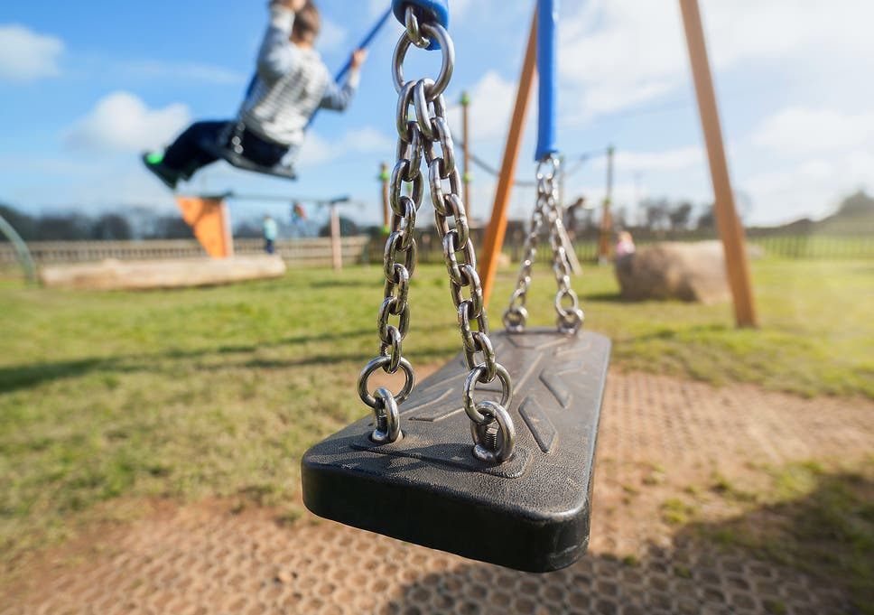 Image result for Mom issues warning for parents when son collapses after playing on swings