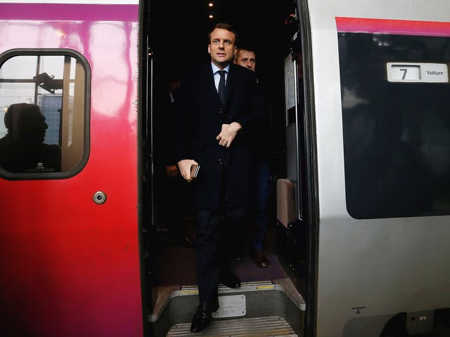 Emmanuel Macron, head of the political movement En Marche!