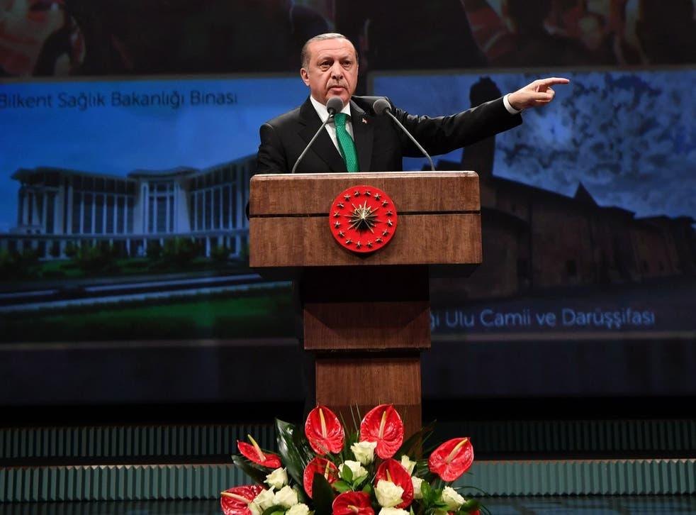 Turkish President Recep Tayyip Erdogan speaks during a meeting for the Doctor Days in Ankara
