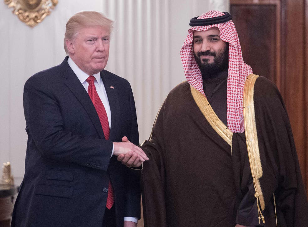 US President Donald Trump and Saudi Deputy Crown Prince and defence minister Mohammed bin Salman at the White House on 14 March