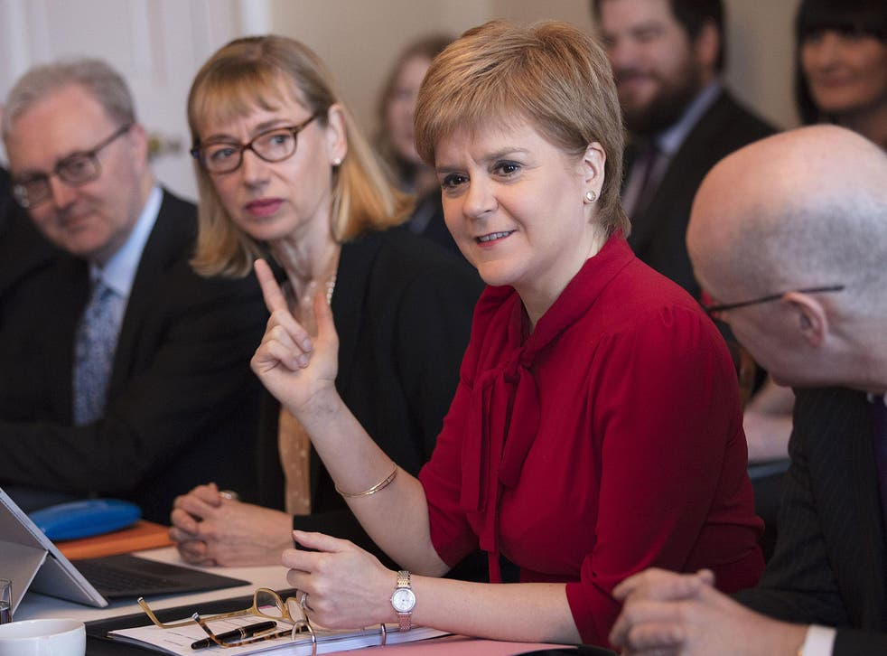 Scotland's First Minister Nicola Sturgeon holds her first cabinet meeting at Bute House since signalling her intention to hold another independence referendum