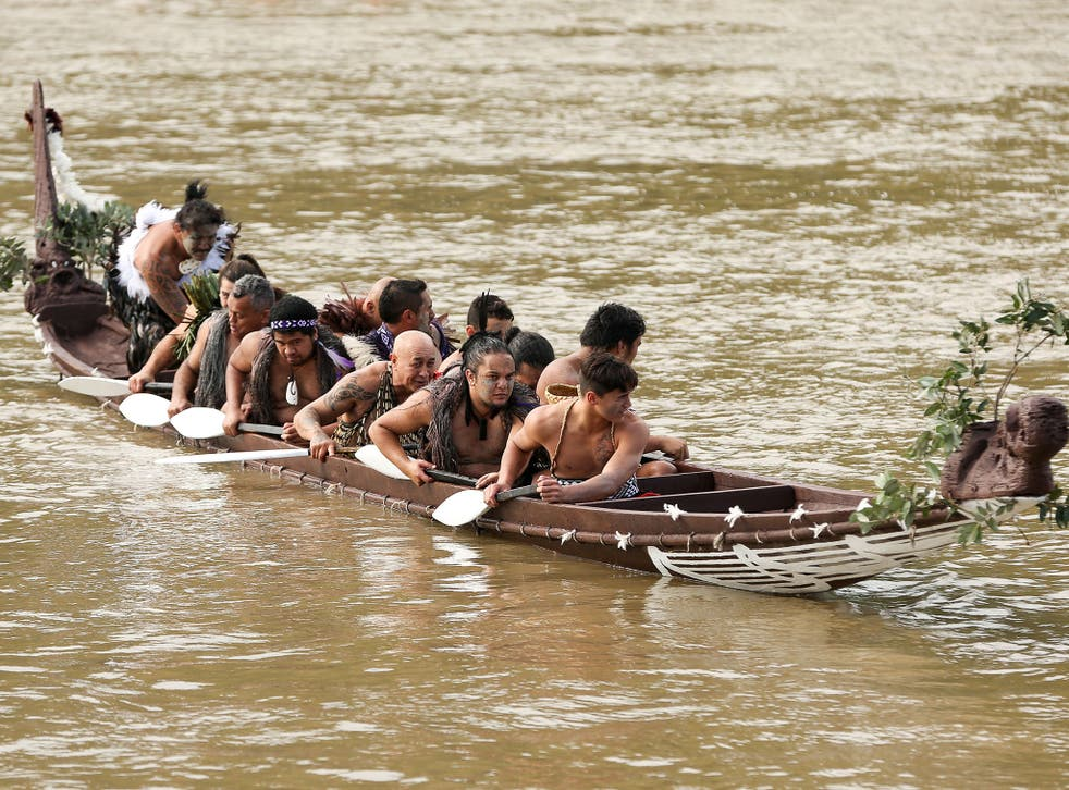 A Maori crew on the Whanganui river during Prince Harry's visit to New Zealand