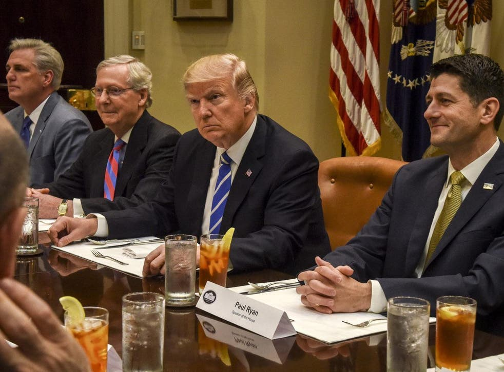 President Trump meets with Republican congressional leadership, including Senate Majority Leader Mitch McConnell, second left, and House Speaker Paul Ryan, right, at the White House