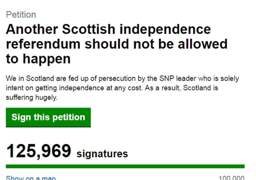 Petition opposing second Scottish independence referendum