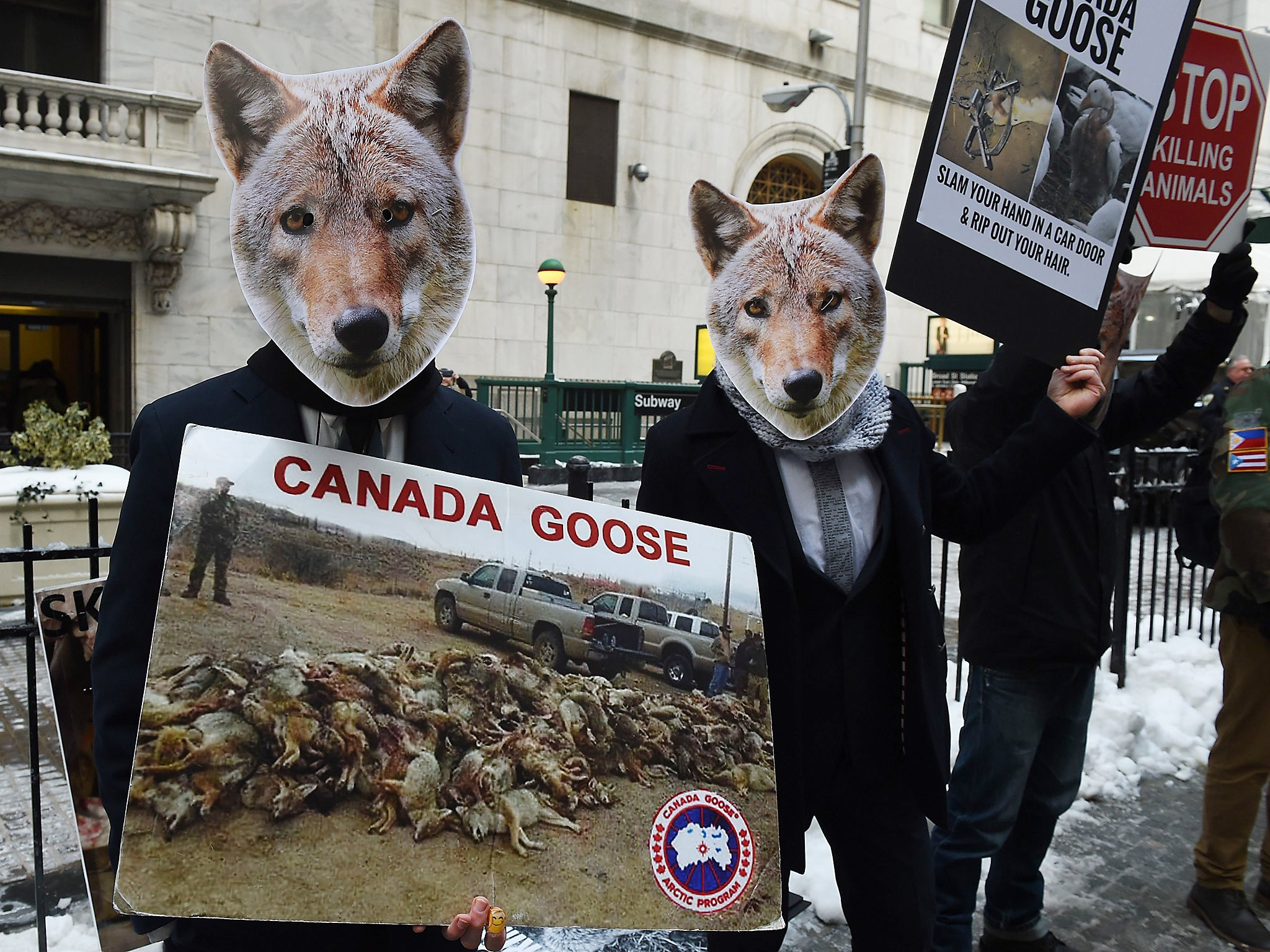 Wearing coyote masks and business suits and waving signs against Canada Goose and their use of