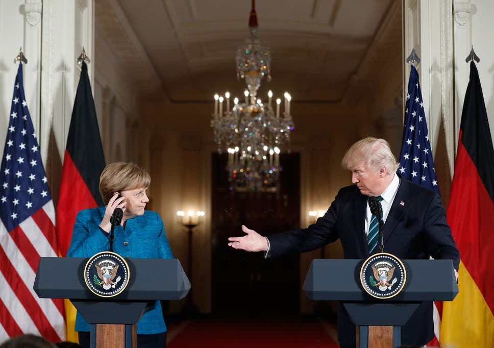 Donald Trump and Angela Merkel during their joint press conference at the White House