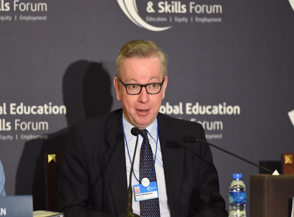 Michael Gove speaks to an audience at the Global Education and Skills Forum in Dubai