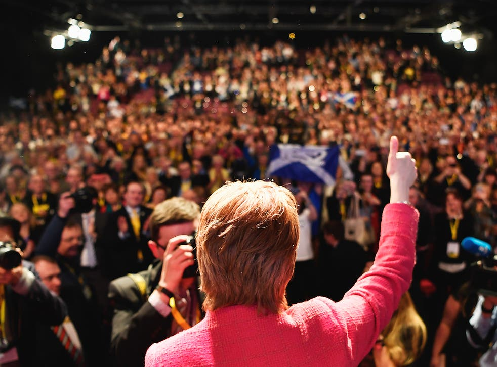 Nicola Sturgeon, SNP leader, addresses the party's spring conference in Aberdeen on Saturday
