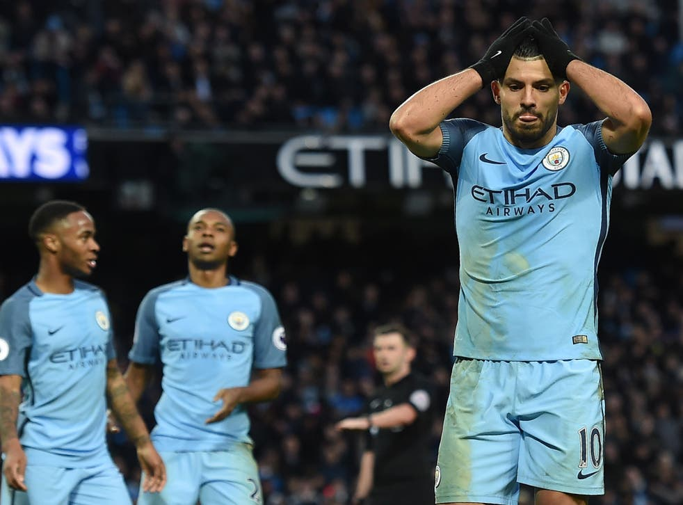 Sergio Aguero missed a simple chance to win the game for Manchester City late on