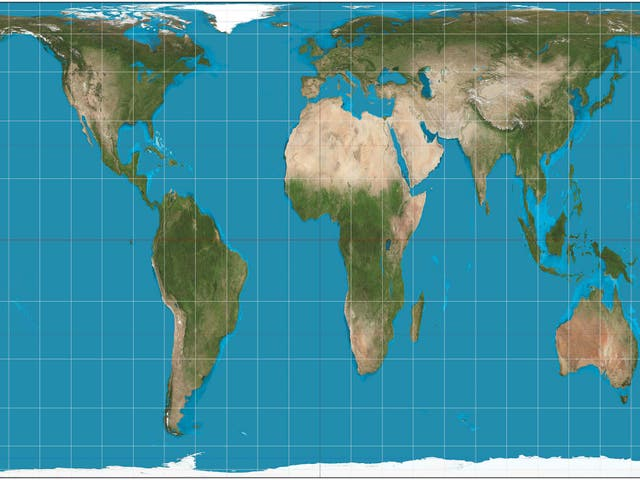 A Gall-Peters projection map of the world, which gives a much better picture of what the world as a whole actually looks like