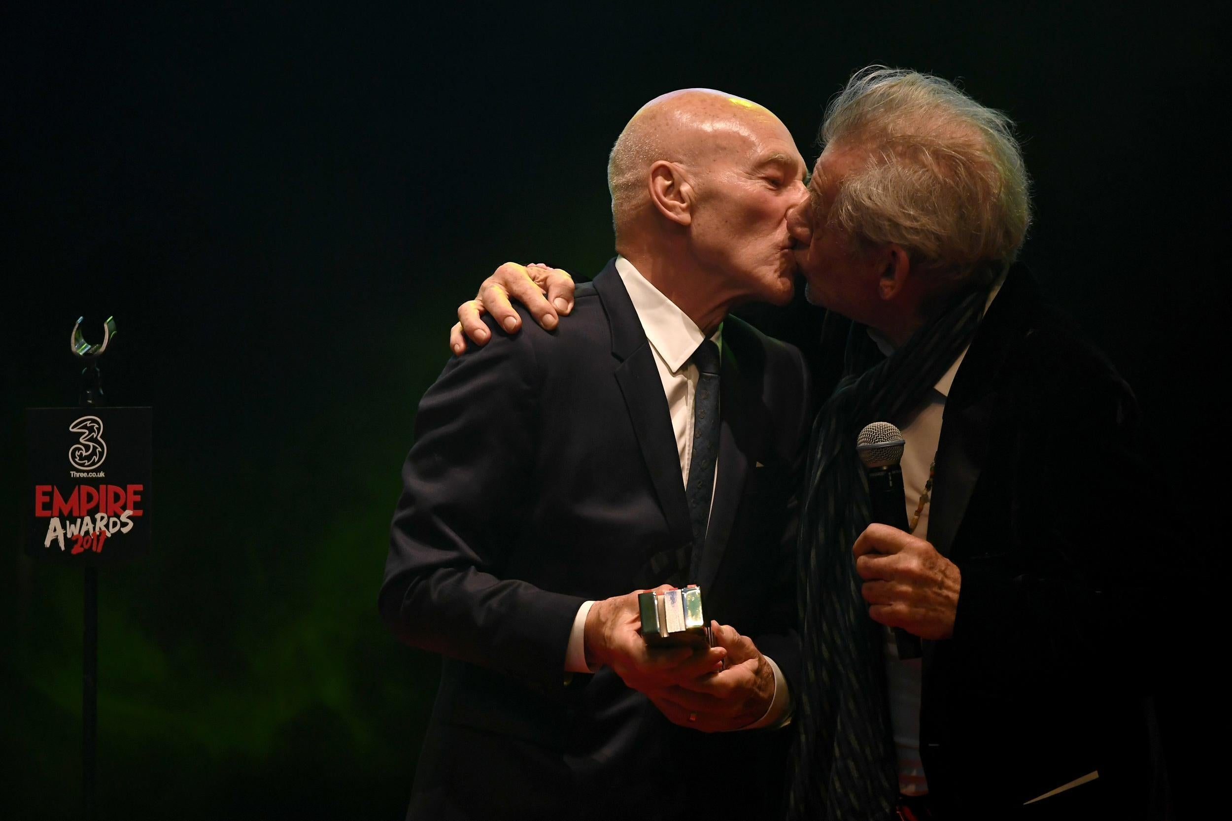 Sir Ian McKellen and Patrick Stewart kiss at Mr. Holmes ... |Ian Mckellen Patrick Stewart Kiss