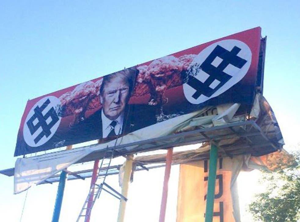 The billboard went on display in Grand Avenue, Phoenix, Arizona on 17 March