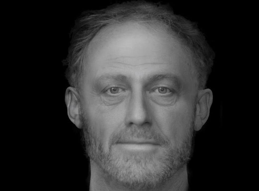 A reconstruction of the face of a man who died in Cambridge more than 700 years ago