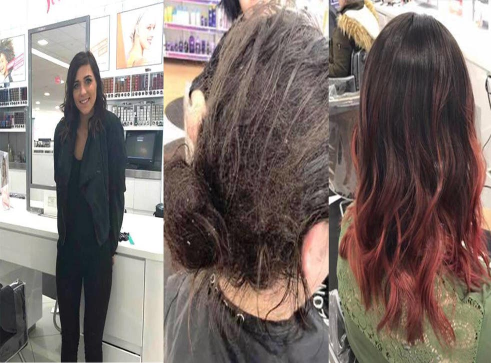 Kate, and the woman's hair before and after. Picture: