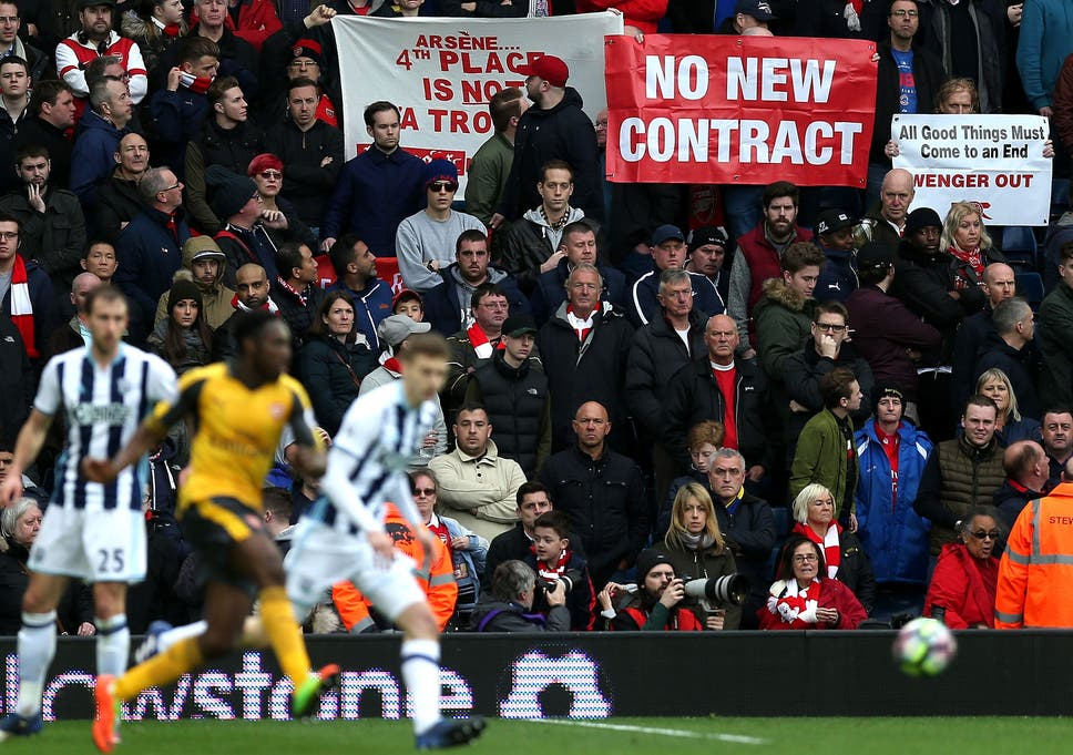 e89bc09bd Arsenal fans protest against Wenger during their side s recent defeat by West  Brom