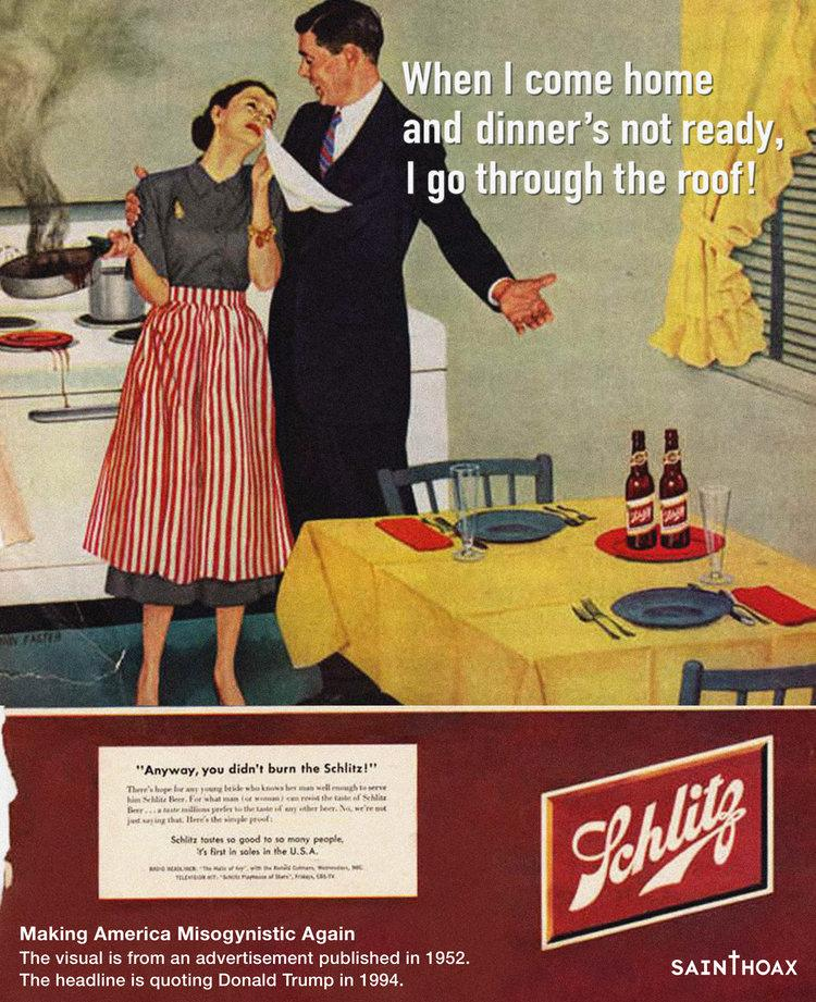 This artist put Donald Trump quotes on sexist 1950s advertising