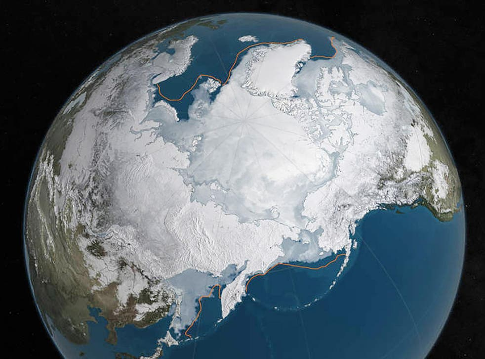 A NASA illustration shows Arctic sea ice at a record low for wintertime