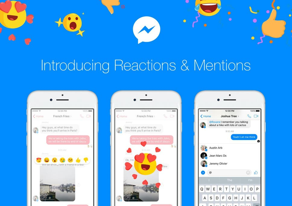 facebook messenger how to use new reactions and mentions features