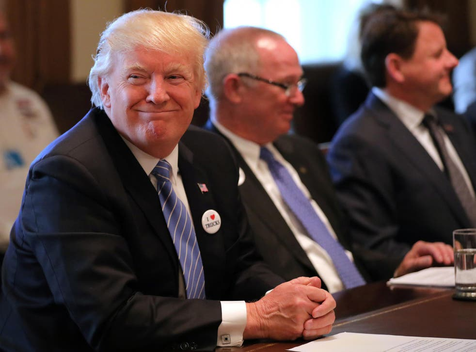 President Trump attends a meeting with truckers and CEOs regarding healthcare at the White House in Washington on March 23 2017