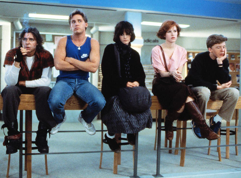 Brat pack: Judd Nelson, Emilio Estevez, Ally Sheedy, Molly Ringwald and Anthony Michael Hall in John Hughes' 1985 film 'The Breakfast Club'