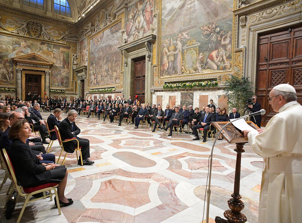 Pope Francis during an audience with 27 heads of State or government at the Vatican