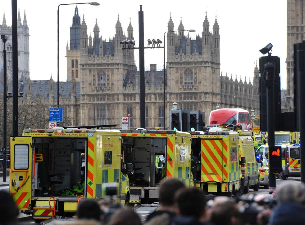 Emergency services near the Houses of Parliament on Wednesday