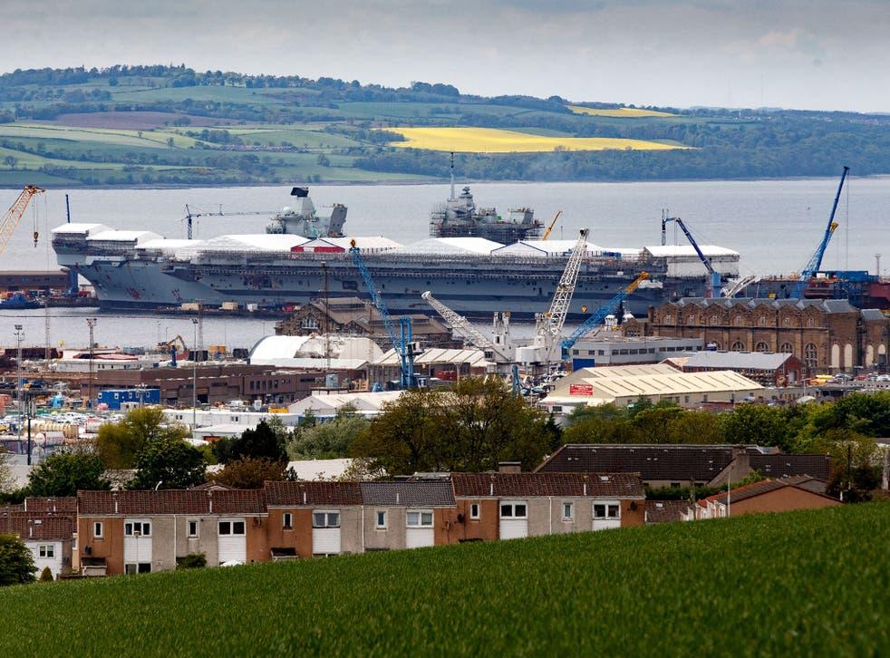 The HMS Queen Elizabeth under construction in Rosyth dockyard in Scotland