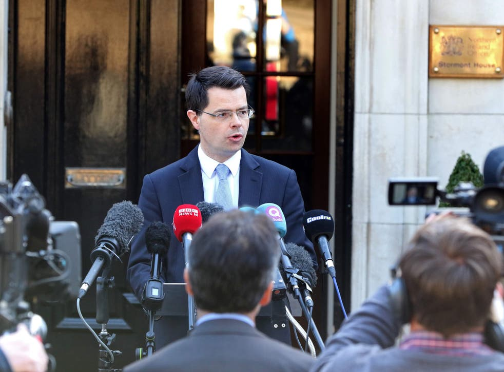James Brokenshire makes a statement outside his office at Stormont House on Monday