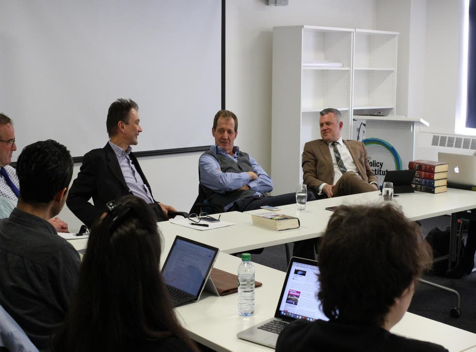 Alastair Campbell with John Rentoul (left) and Jon Davis (right) at King's College, London, yesterday