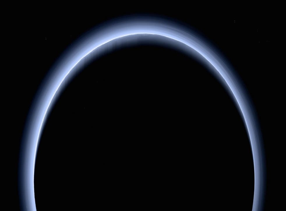 The photo was taken as the New Horizons spacecraft passed 120,000 miles from Pluto