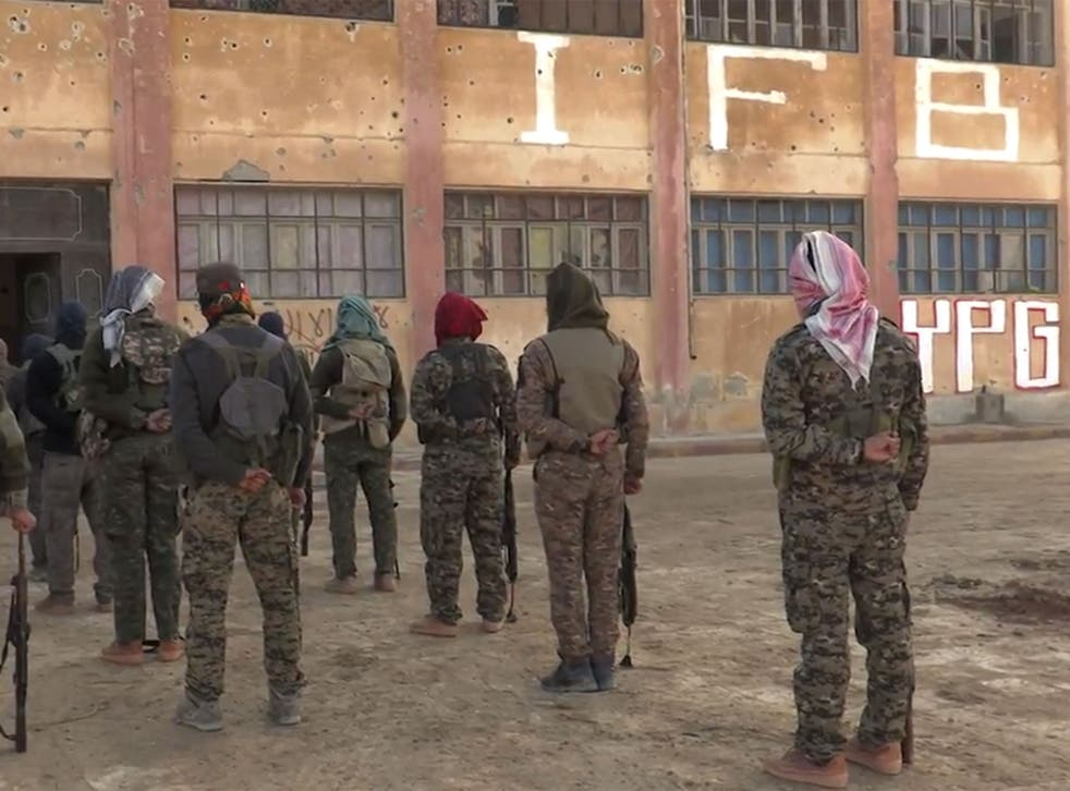 Members of the Bob Crow Brigade at the YPG's International Freedom Battalion headquarters on the Raqqa front