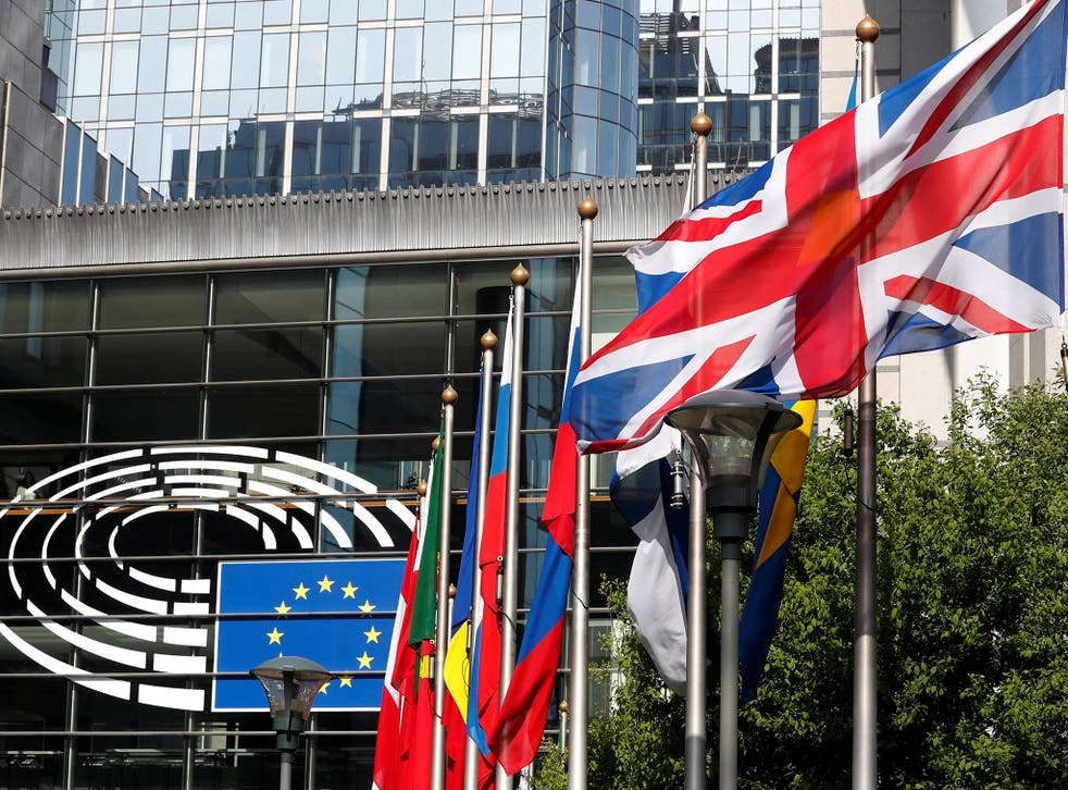 A Union flag flies outside the European Parliament in Brussels