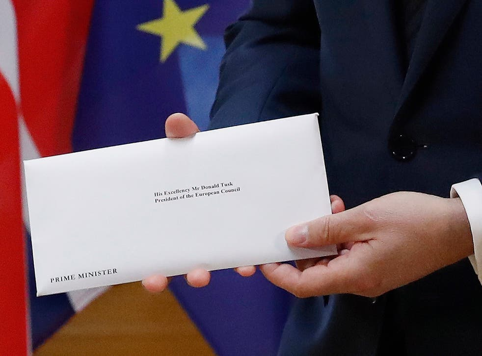 The letter starts the formal Brexit process, which will take up to two years