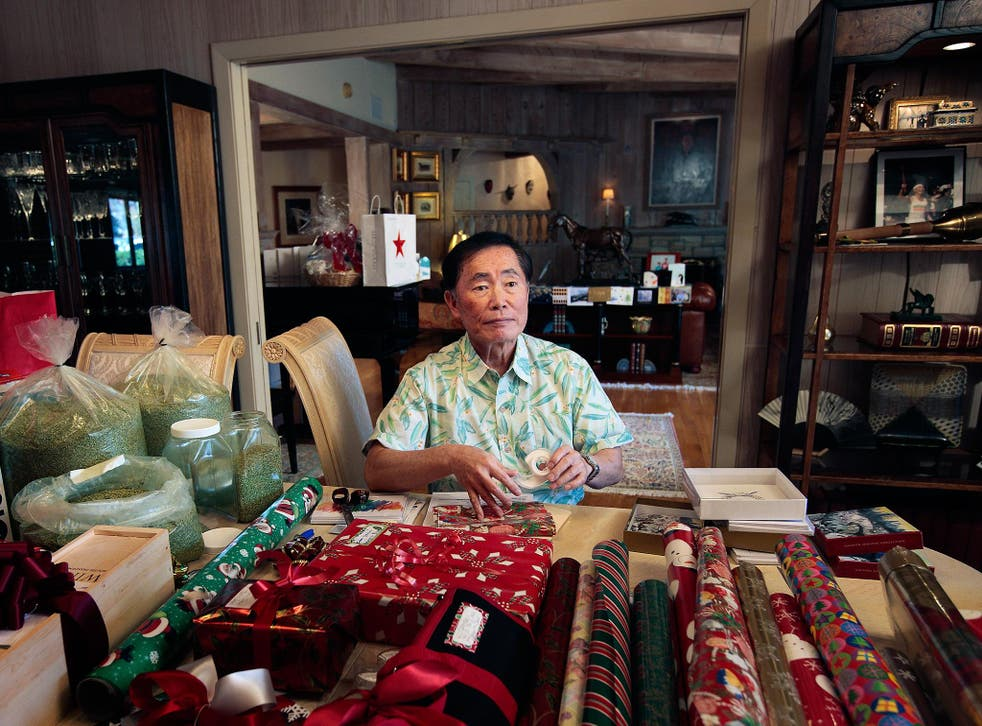 Actor George Takei pictured in his LA home