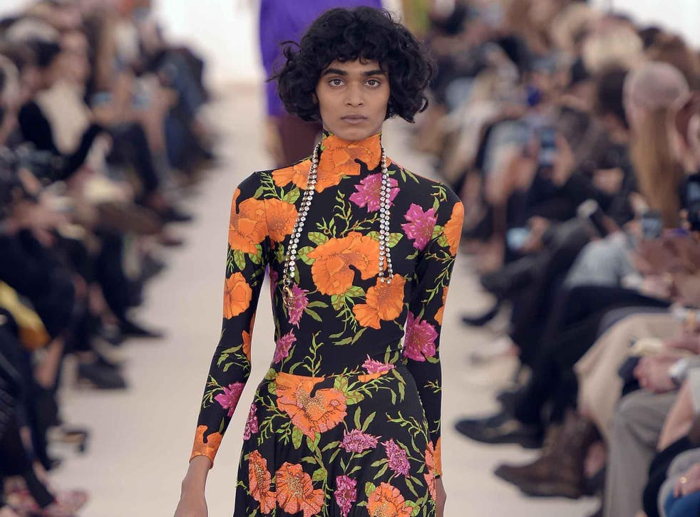 At Balenciaga there were big, brash neon carnations for spring/summer 2017