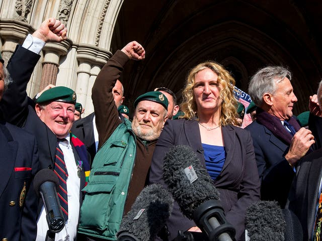 Claire Blackman, wife of Alexandra Blackman, celebrates outside the High Court after Alexander Blackman's appeal was successful