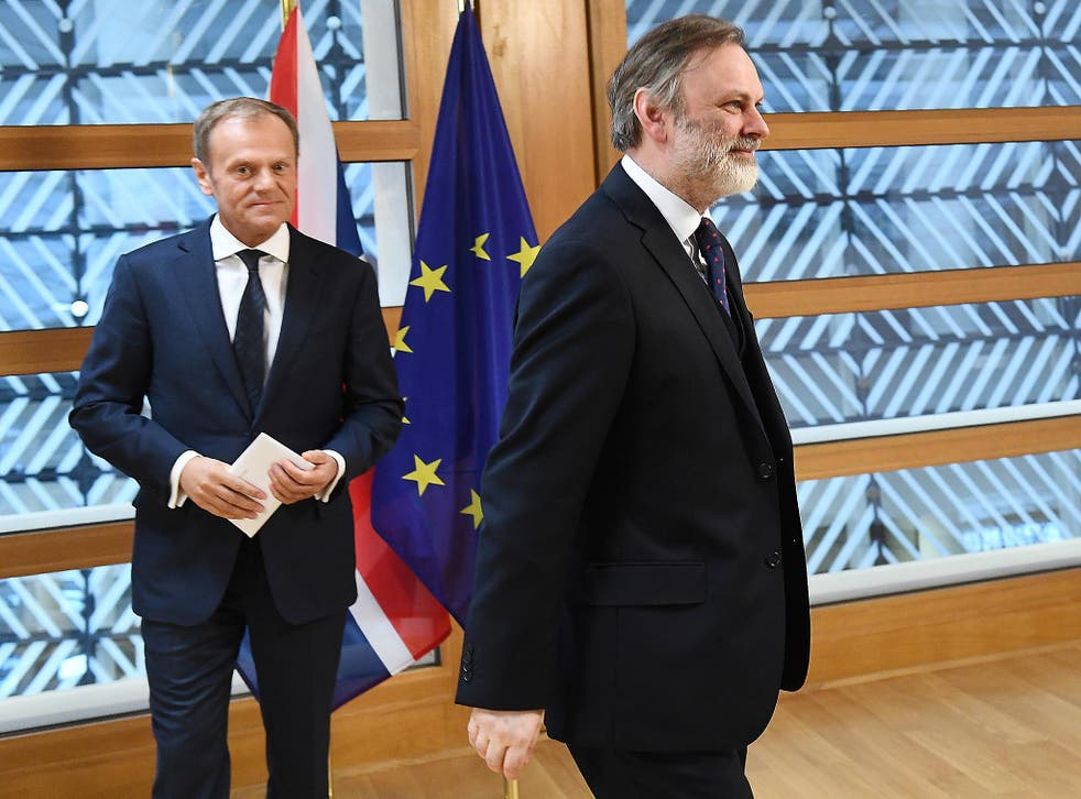 British ambassador to the EU, Sir Tim Barrow leaves after delivering the official notice under Article 50 of the Lisbon Treaty to European Council President Donald Tusk in Brussels, Belgium