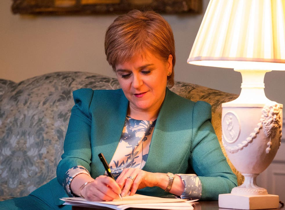 The Scottish Government tweeted a picture of the First Minister with her feet up on a couch in her Bute House residence writing the Section 30 letter