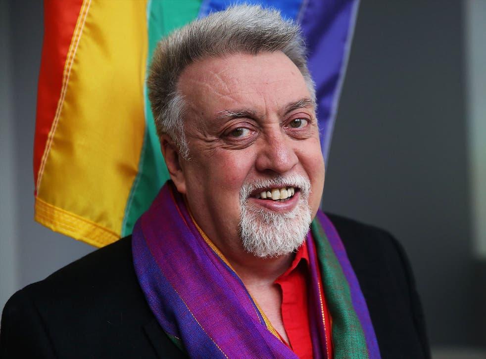 Rainbow Flag Creator Gilbert Baker poses at the Museum of Modern Art in New York in 2016