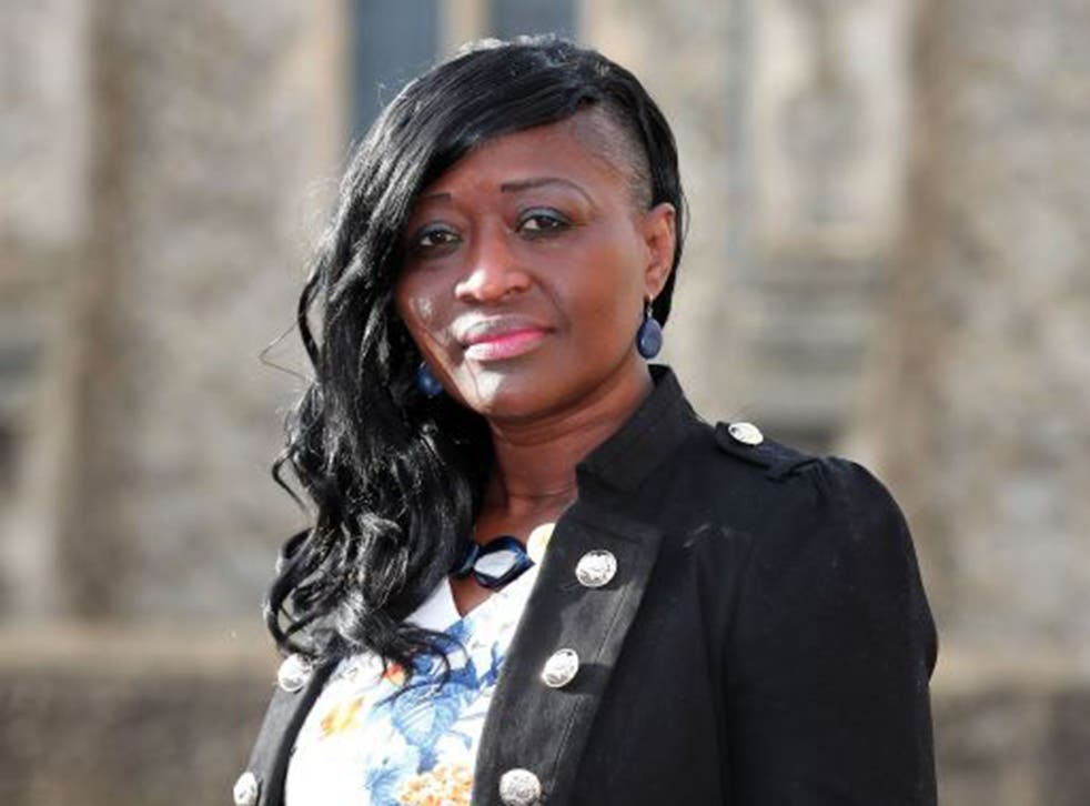 Nurse Sarah Kuteh arrives at the Employment tribunal offices in County Square, Ashford, Kent