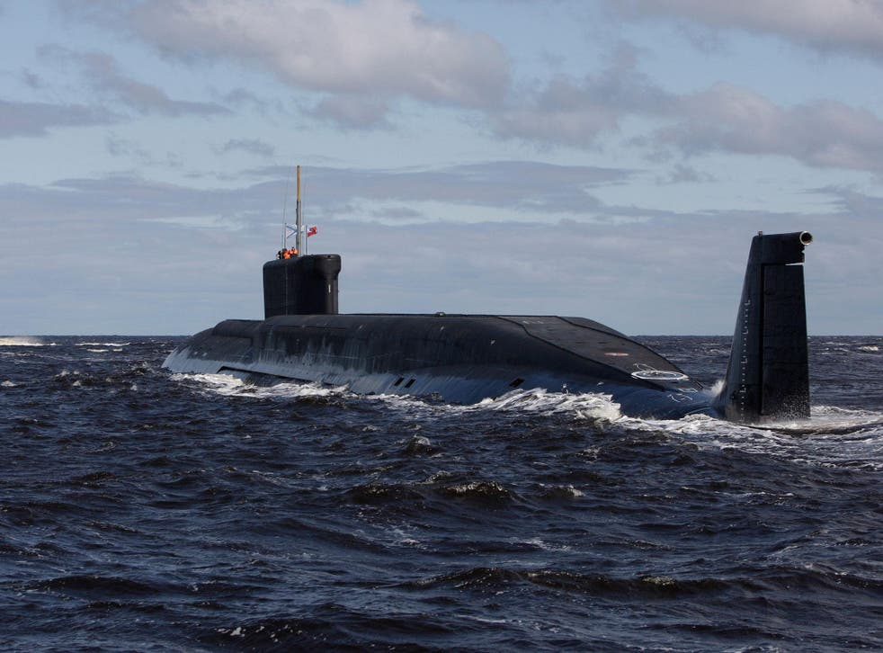 Russian nuclear submarine, Yuri Dolgoruky, is seen during sea trials near Arkhangelsk, Russia